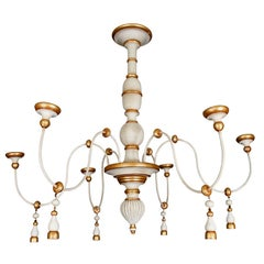 Vintage Italian Gilt and Painted Six Light Chandelier