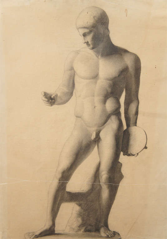 This finely done German drawing is an excellent example of classical study work done by an aspiring artist, the goal to learn scale, proportion and anatomical lessons from the great masters of the past.  The rendering is very believable as a figure