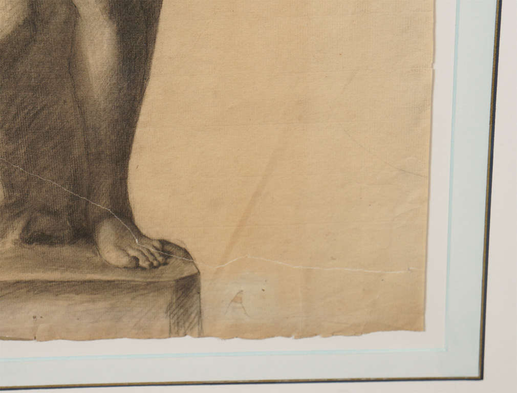 German Classical Drawing of an Ancient Statue In Good Condition For Sale In Hudson, NY