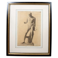 German Classical Drawing of an Ancient Statue