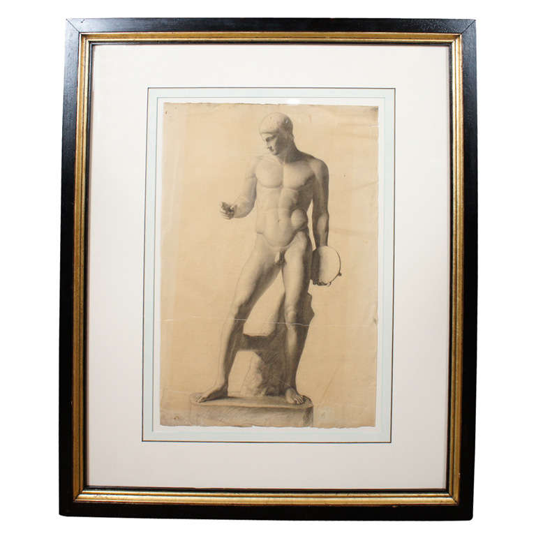 German Classical Drawing of an Ancient Statue For Sale