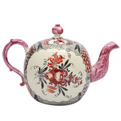 A Rare English Creamware Chintz Teapot