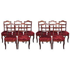 Set of Ten French Restauration Dining Chairs