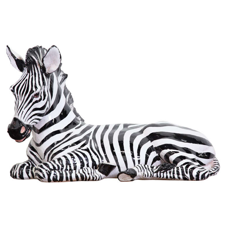 Large ceramic zebra figure for sale