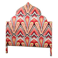 Moroccan Style Queen Headboard Upholstered in Trina Turk