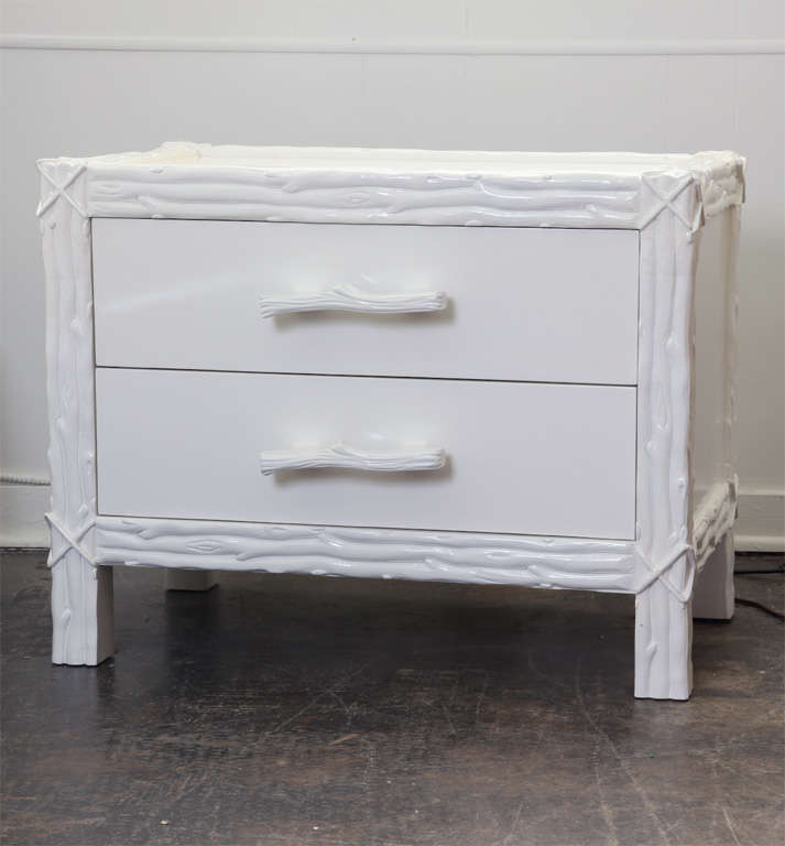 pair of faux bois nightstands in white lacquer at 1stdibs. Black Bedroom Furniture Sets. Home Design Ideas