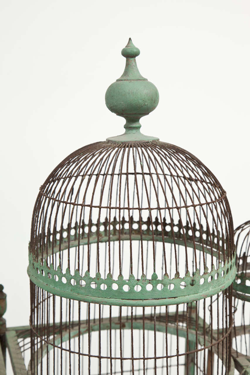 19th Century Green Painted Bird Cage, circa 1880-1900 For Sale