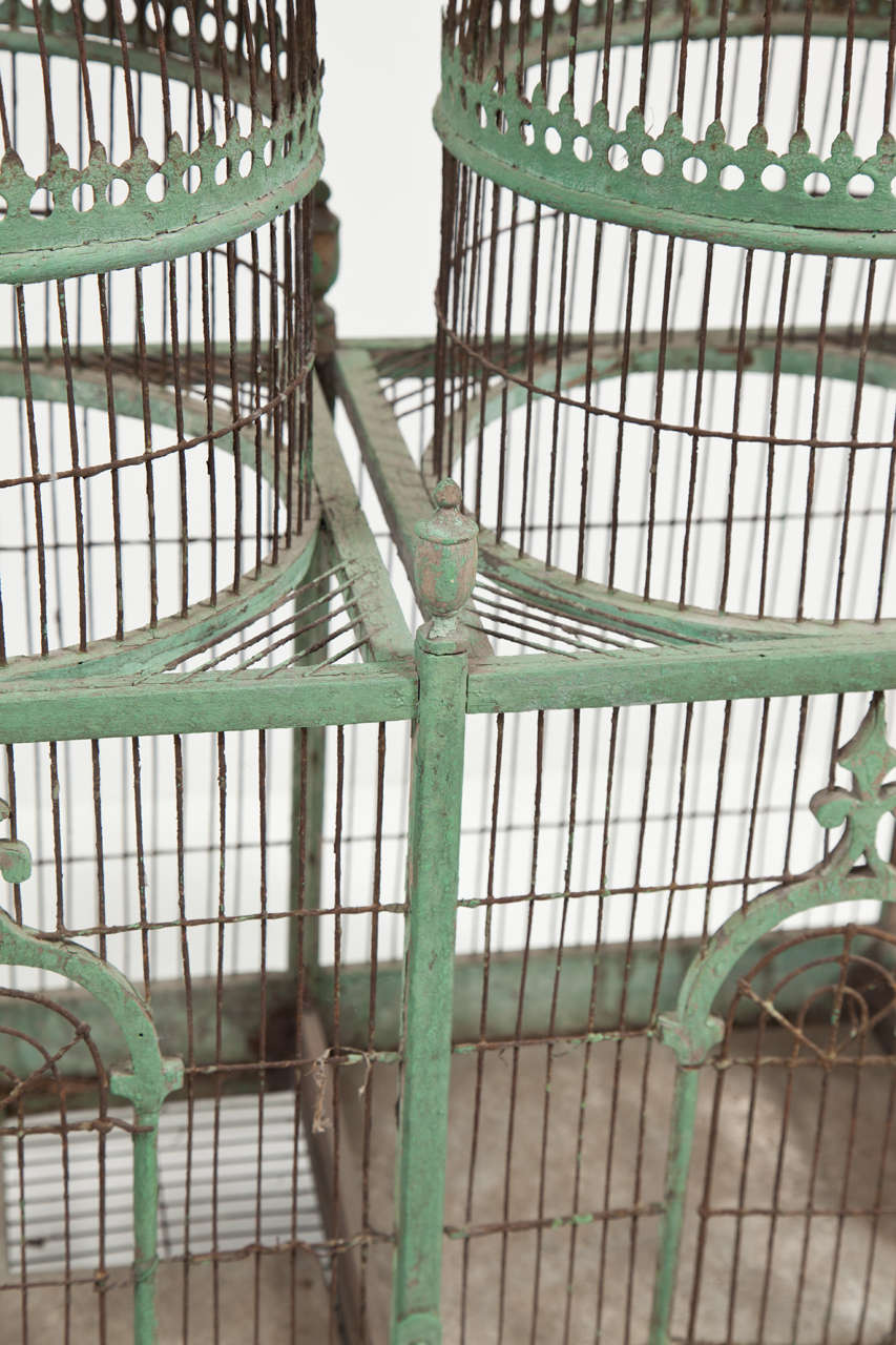 Wood Green Painted Bird Cage, circa 1880-1900 For Sale