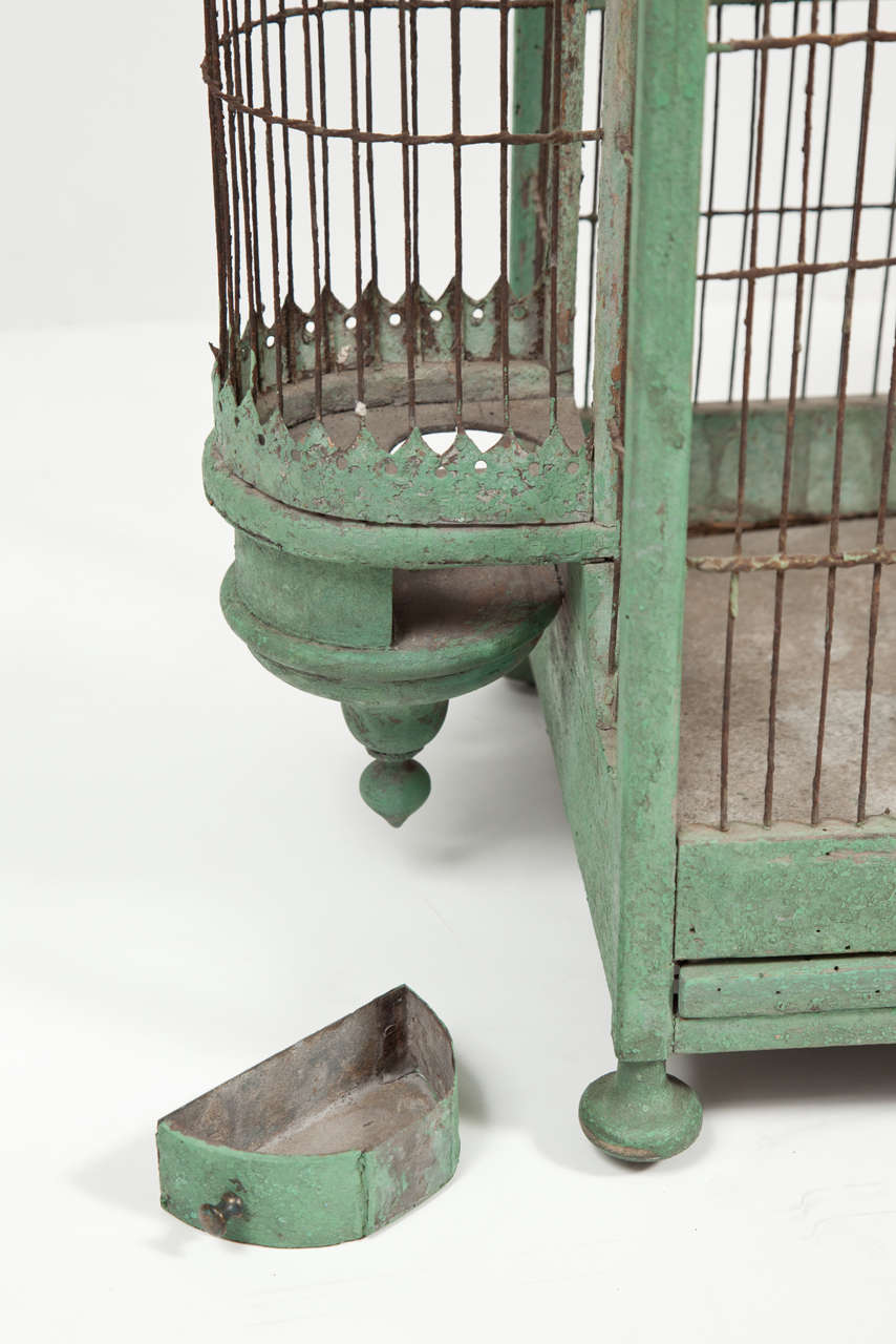 Green Painted Bird Cage, circa 1880-1900 For Sale 1