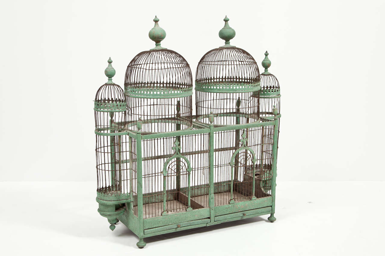 Green Painted Bird Cage, circa 1880-1900 For Sale 2