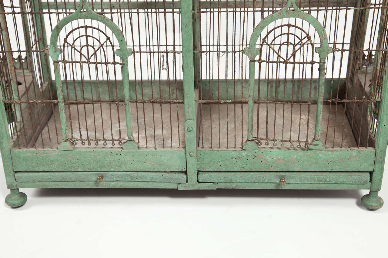 Green Painted Bird Cage, circa 1880-1900 For Sale 3