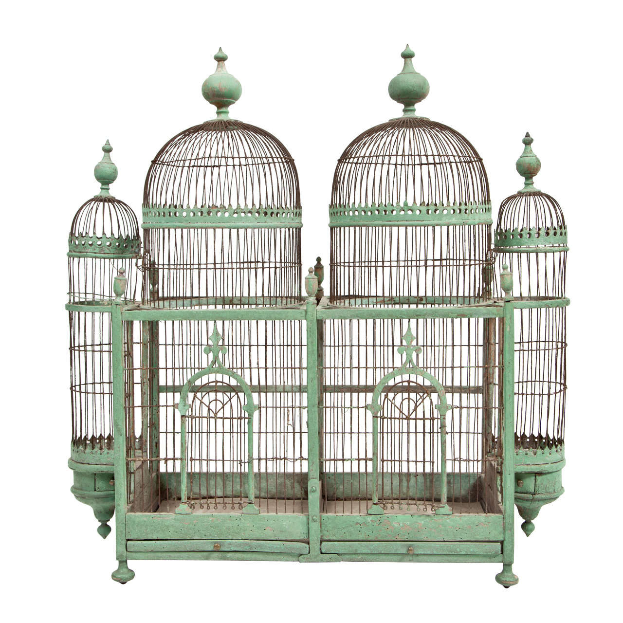 Green Painted Bird Cage, circa 1880-1900 For Sale