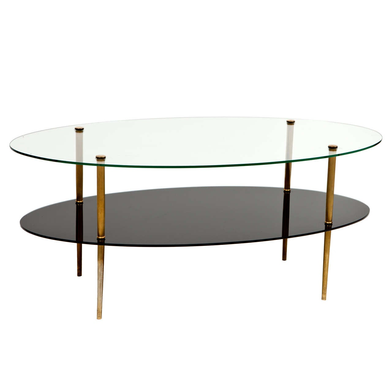 Oval Glass Two-Tier Coffee Table At 1stdibs