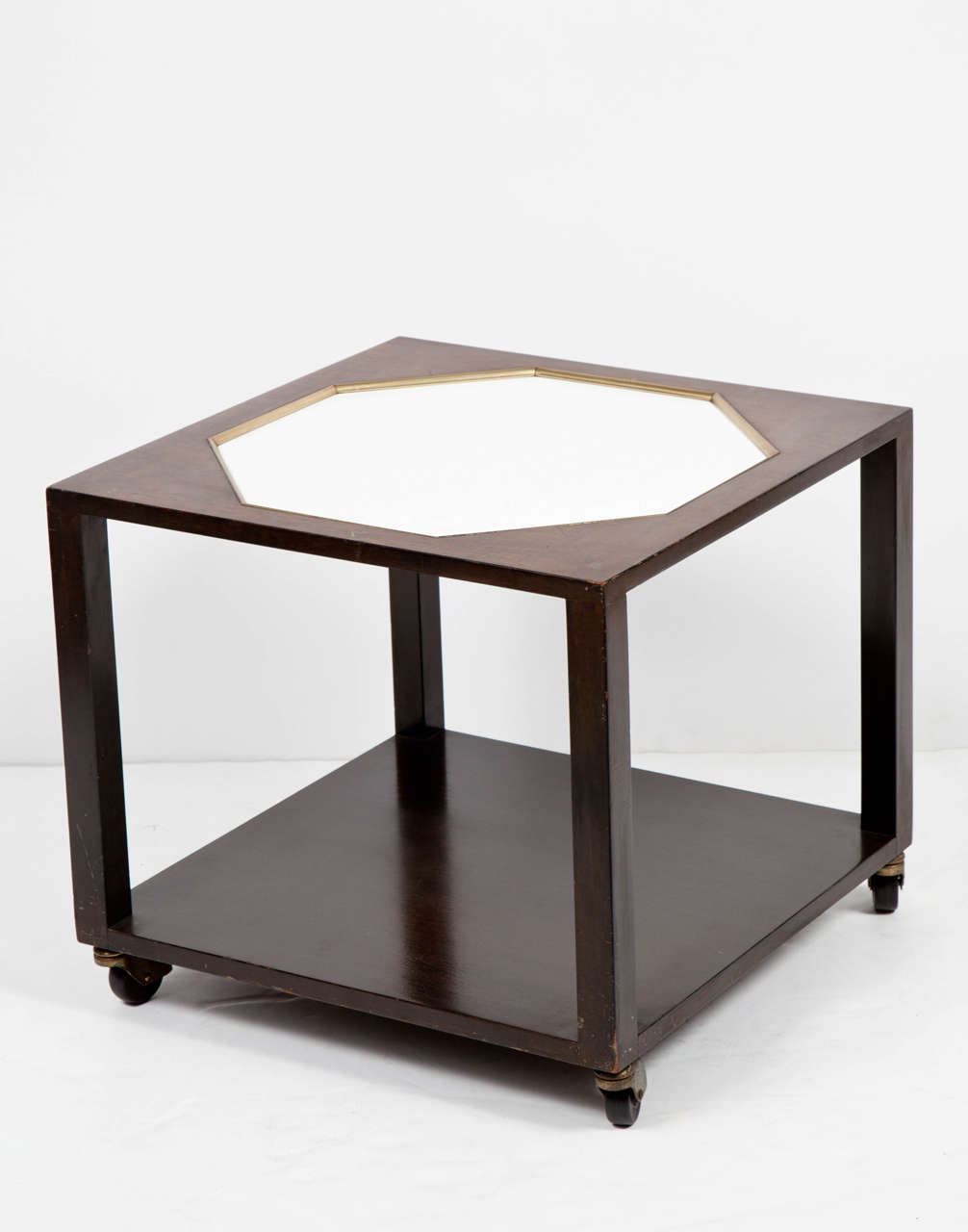 Walnut End Table with White Inset Top in the Manner of Harvey Probber In Good Condition For Sale In New York, NY