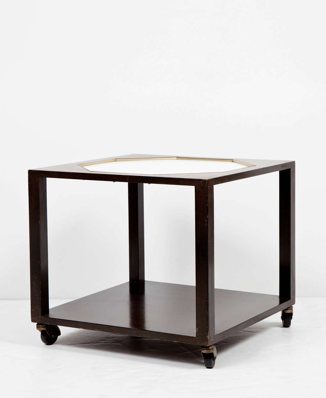 Mid-20th Century Walnut End Table with White Inset Top in the Manner of Harvey Probber For Sale