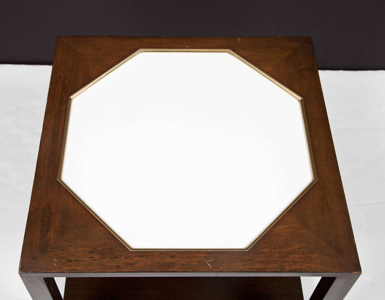 Walnut End Table with White Inset Top in the Manner of Harvey Probber For Sale 1