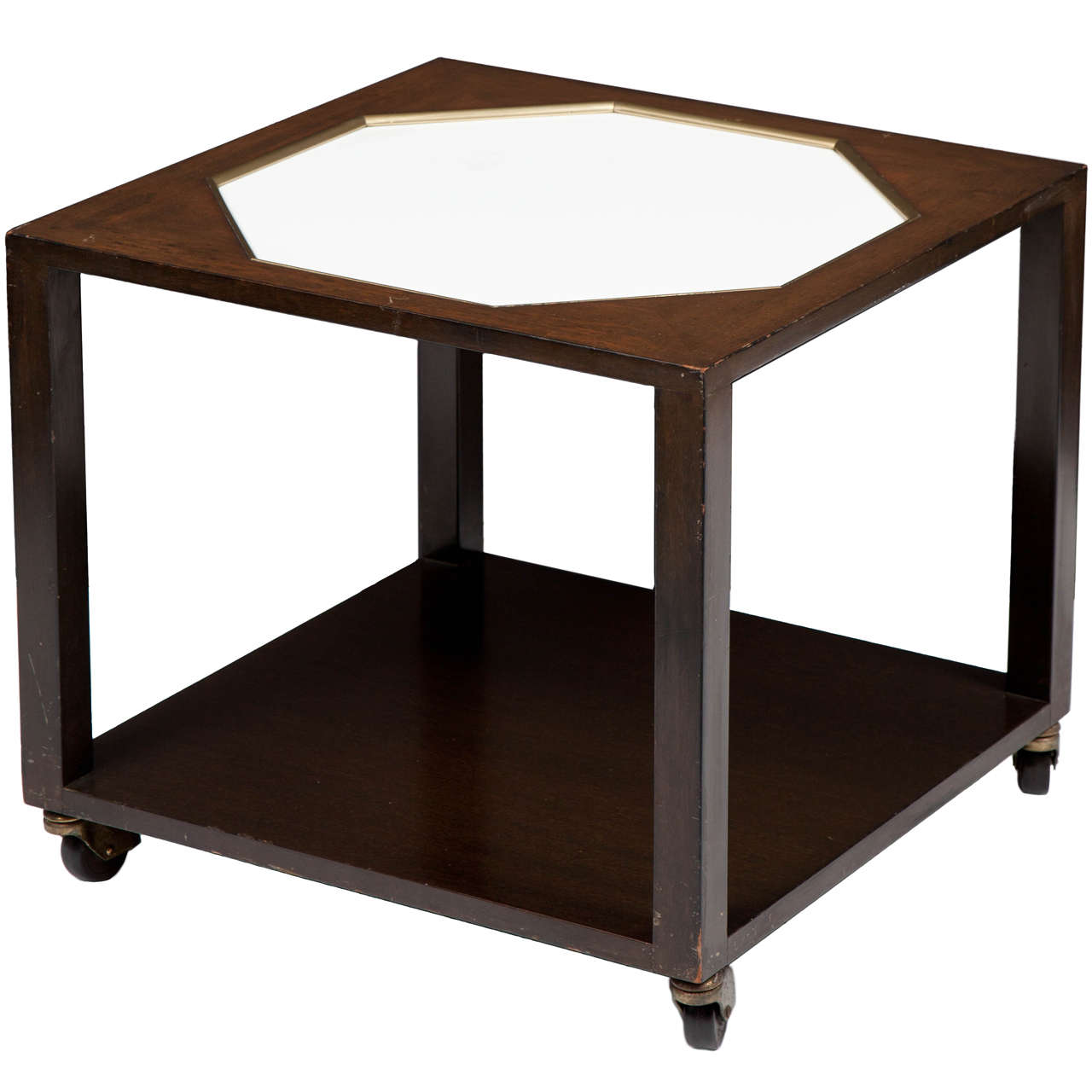 Walnut End Table with White Inset Top in the Manner of Harvey Probber