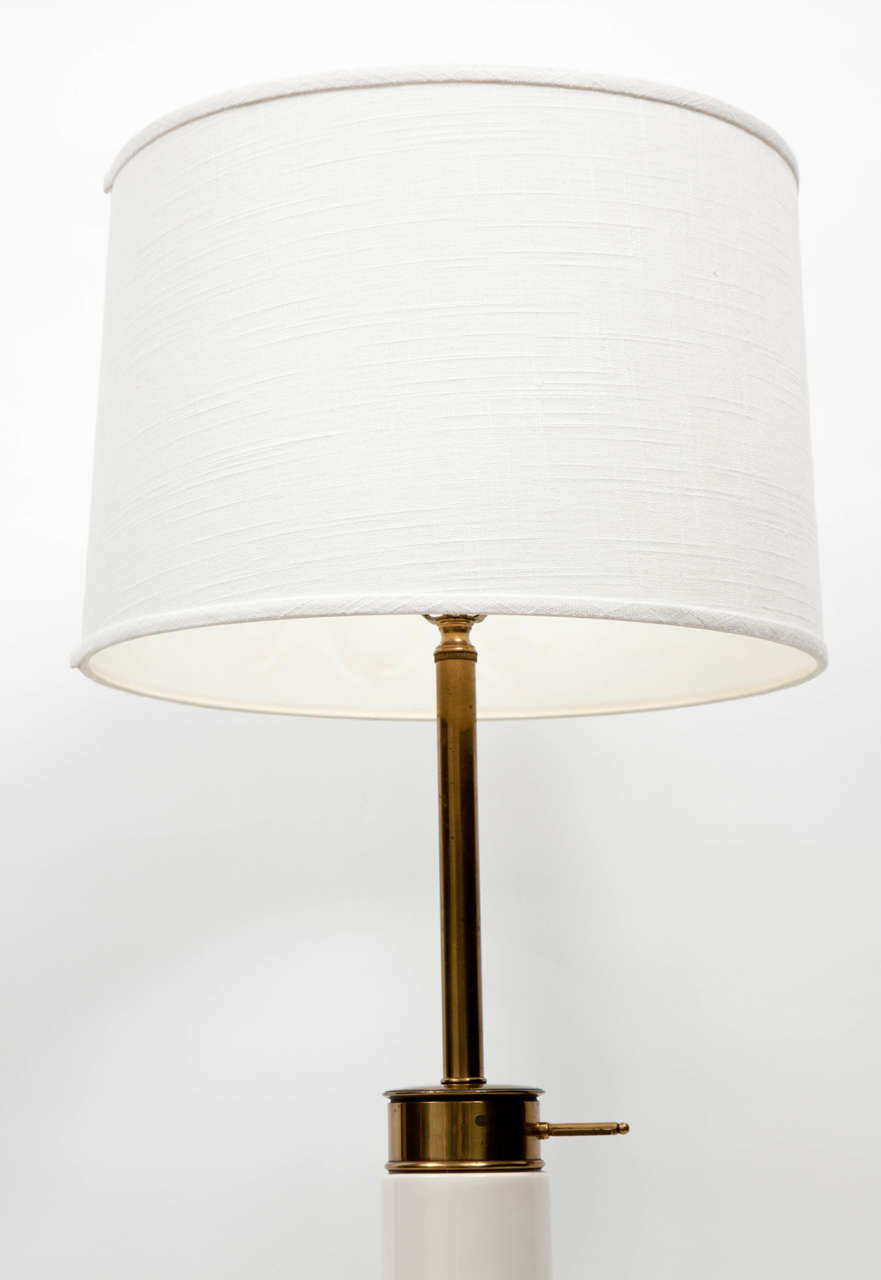 1950s Modernist White Ceramic And Brass Table Lamp By