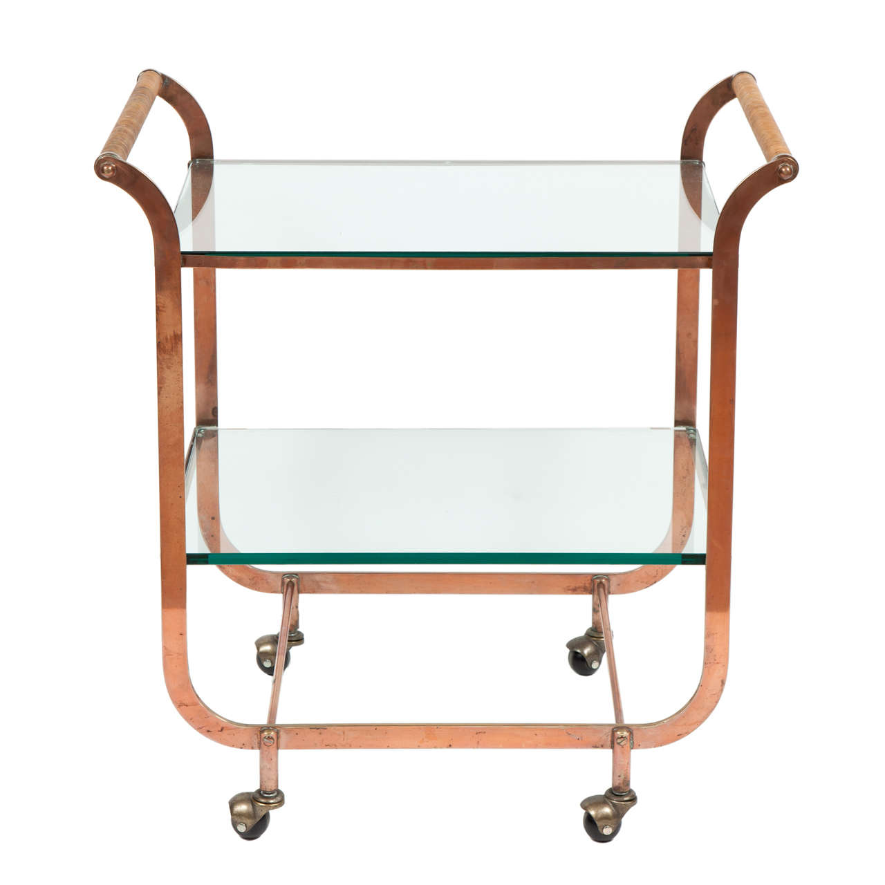 Saturday Sale Art Deco Copper Bar Cart In The Style Of