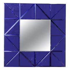 Blue Glass Triangle Surround Bevel Mirror