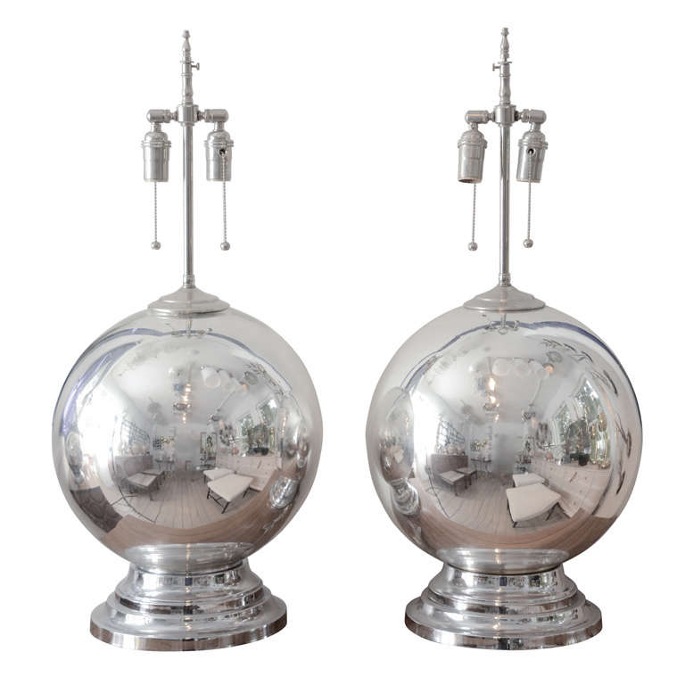 pair of spherical mercury glass lamps for sale at 1stdibs. Black Bedroom Furniture Sets. Home Design Ideas