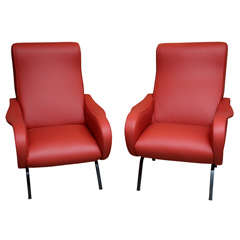 Pair of Red Italian Leather Chairs by Zanuso