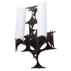 1970's Brutalist Patinated Iron Wall Sconce