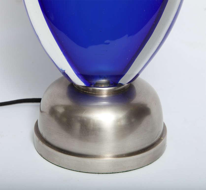 Italian Seguso Table Lamp Mid Century Modern Murano Art Glass 1950's For Sale