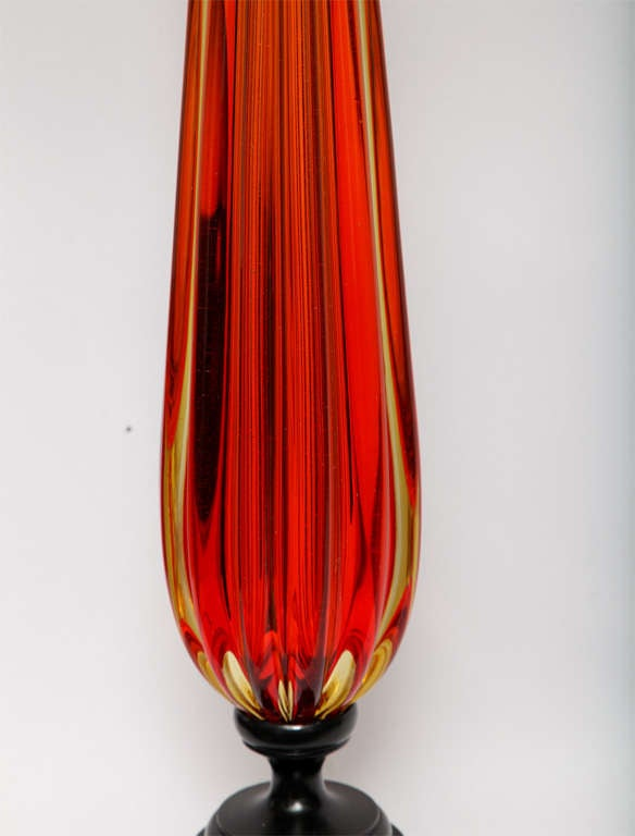 Mid-20th Century 1950s Italian Art Glass Table Lamp by Seguso For Sale