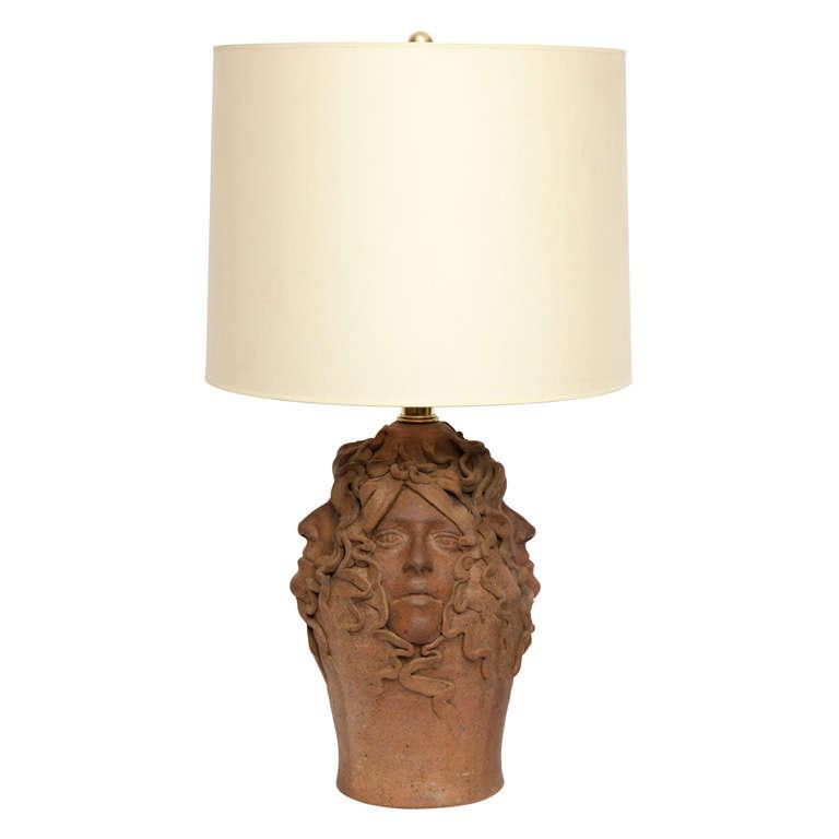 1970s Sculptural Ceramic Table Lamp For Sale