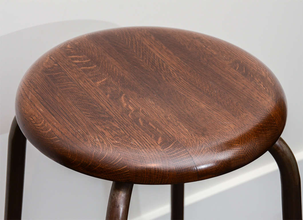 American Buell Oak and Steel Stool For Sale