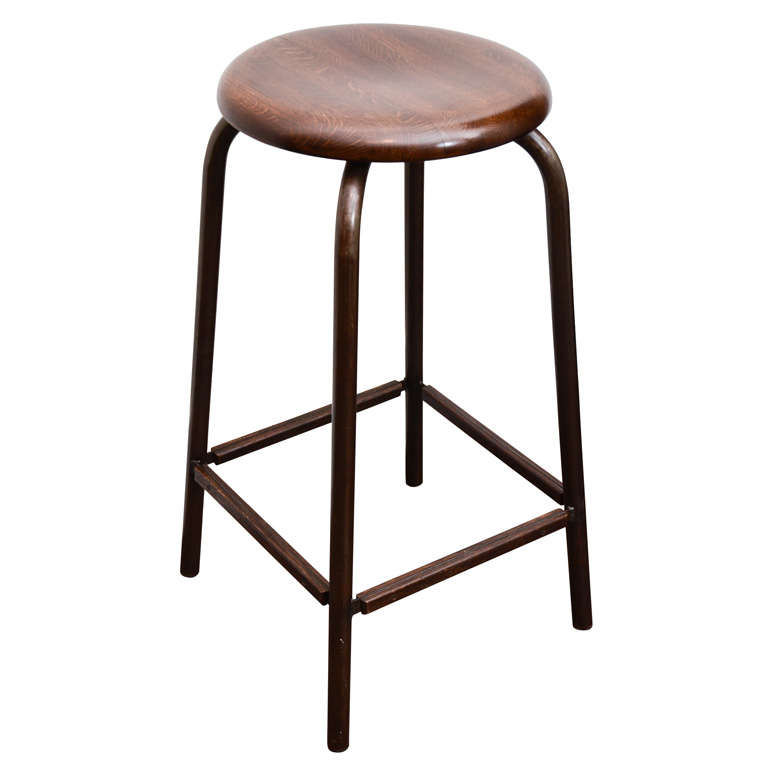 Buell Oak and Steel Stool For Sale