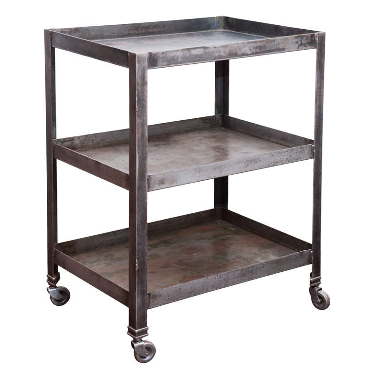 Industrial Coffee Table On Wheels At 1stdibs: Three Tiered Industrial Cart On Casters At 1stdibs