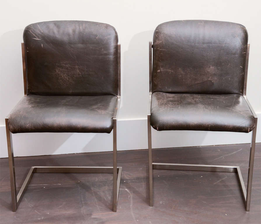 French Modernist Steel Chairs For Sale