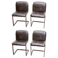 Set of Four Modernist Steel and Leather Cantilever Chairs, France, circa 1970