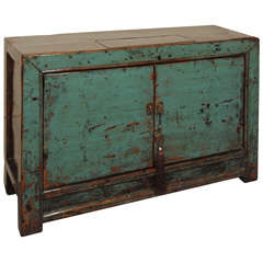 "Antique Chinese blue lacquer ""grain"" cabinet."