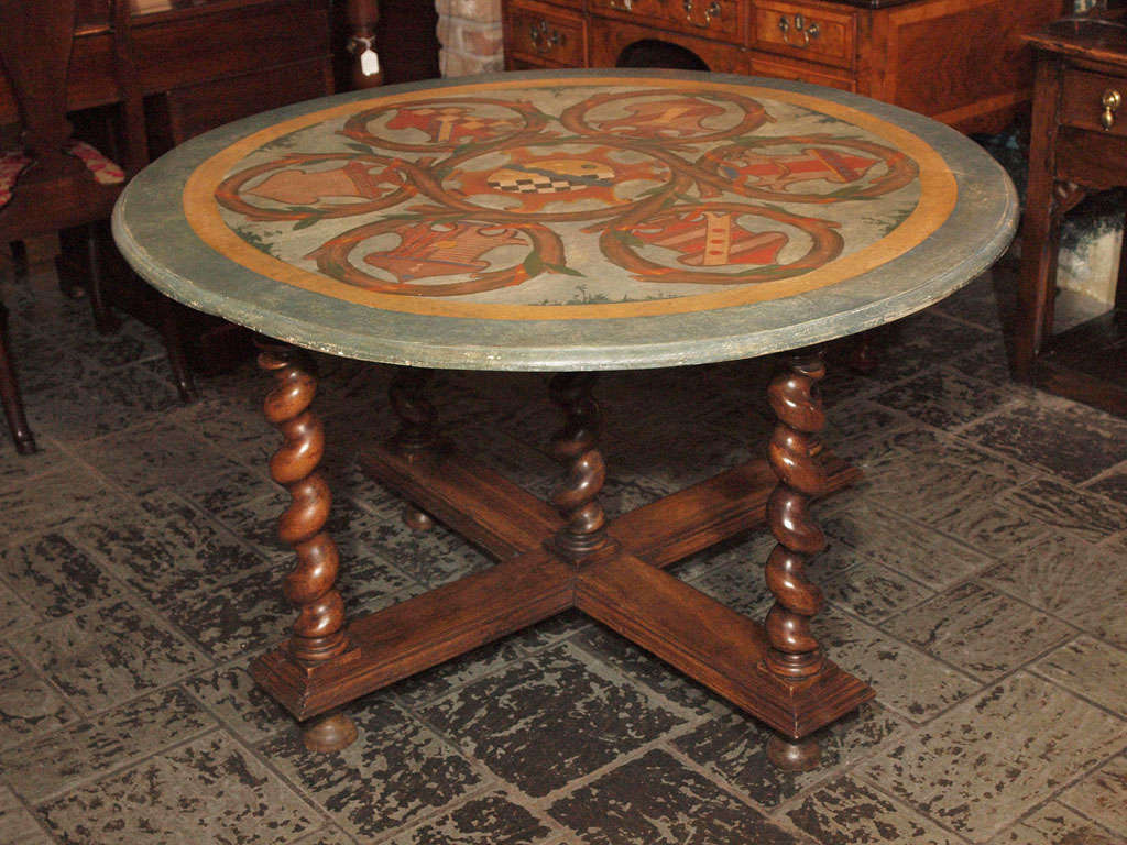 Antique French Walnut Base With Painted Round Table Top