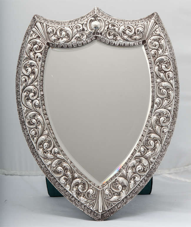 Unusual Large Sterling Silver Victorian Shield-Shaped Table or Vanity Mirror In Excellent Condition For Sale In New York, NY