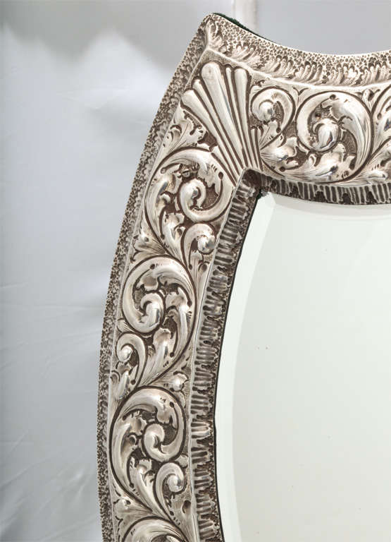 Unusual Large Sterling Silver Victorian Shield-Shaped Table or Vanity Mirror For Sale 1
