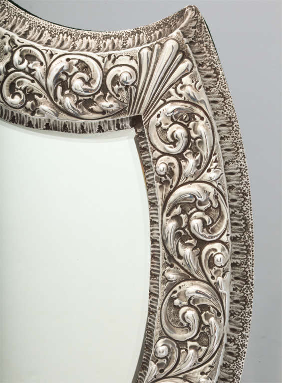 Unusual Large Sterling Silver Victorian Shield-Shaped Table or Vanity Mirror For Sale 3