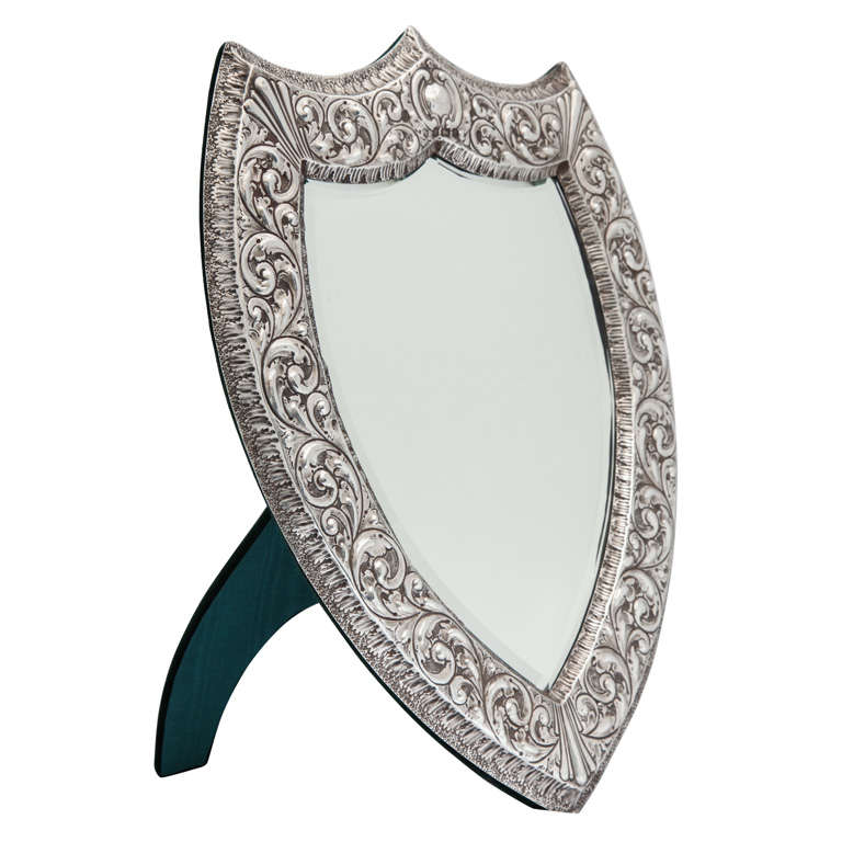 Unusual, large, Victorian, shield-shaped table or vanity mirror, Birmingham, England, 1900, A & J Zimmerman - makers. Measures: @15 inches  high at highest point  x 11 1/2 inches wide at widest point x @7 inches deep when easel is in open position.