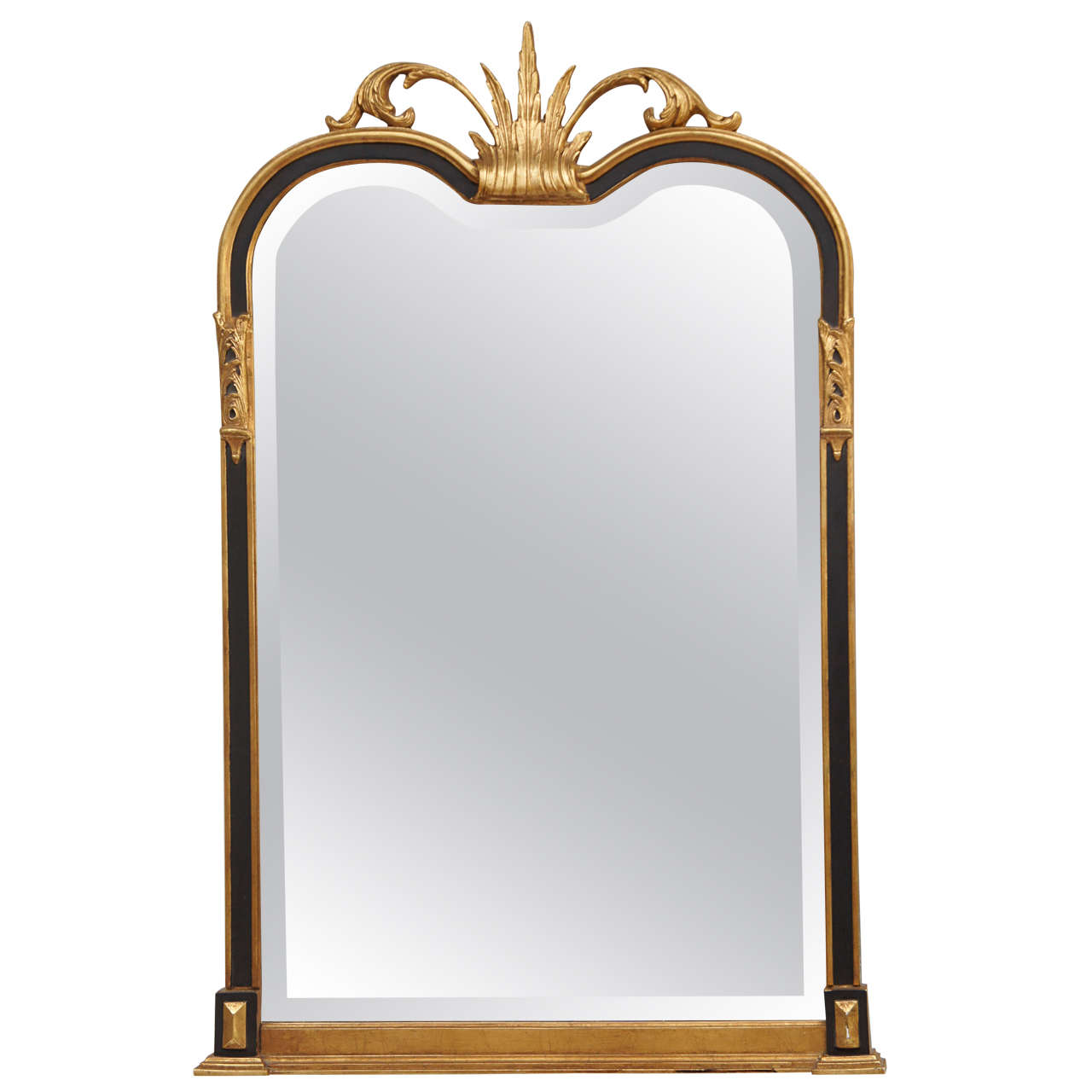 Neoclassical gilt ebonized mantel mirror at 1stdibs for Mantel mirrors