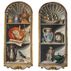 "Pair of Palladio ""Trompe D'oeil"" Hand Painted Wood Panels"