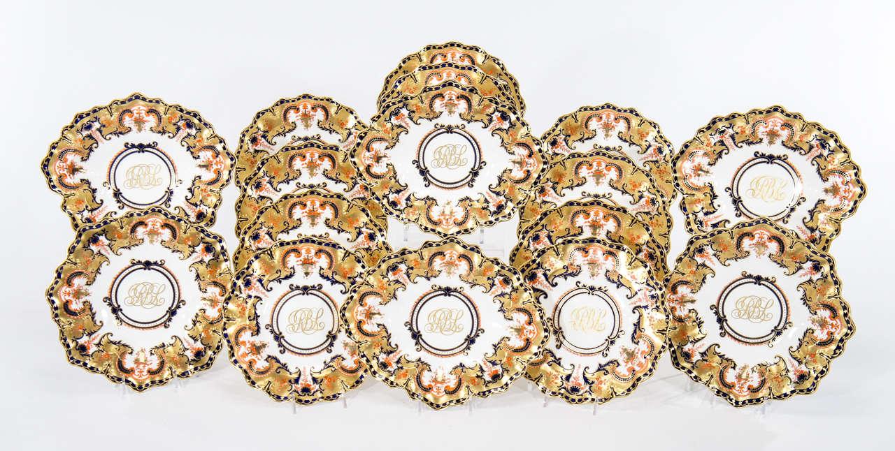 "Royal Crown Derby ""Imari"" 16 Pc Dessert Service with Gold"