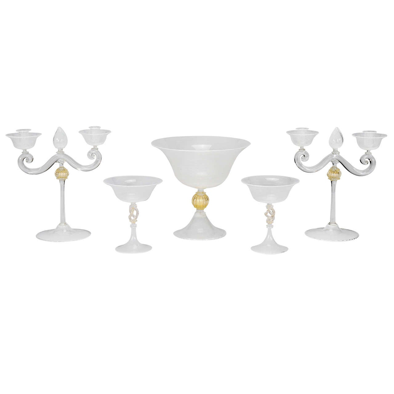 Cenedese, Murano 5 Piece Table Centerpiece Set with White Threading