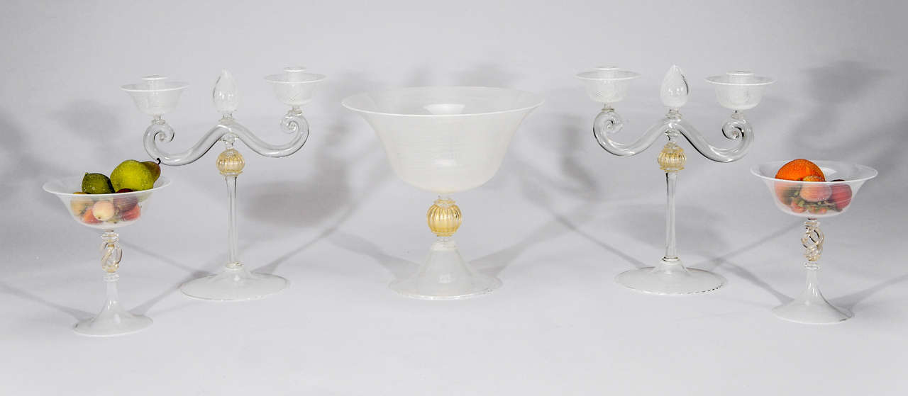 Cenedese murano 5 piece table centerpiece set with white for Dining table centerpieces for sale