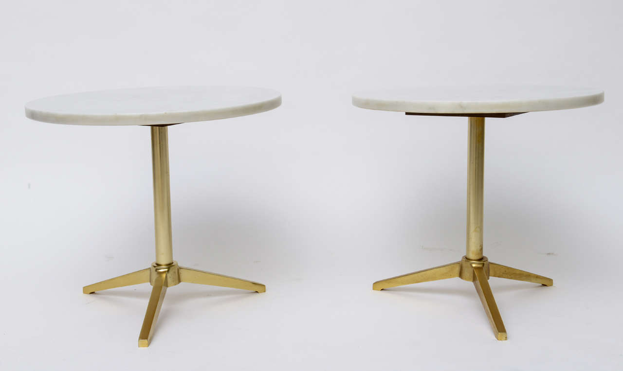 1960s Stellar Italian Marble Top Brass Base Side Tables 2