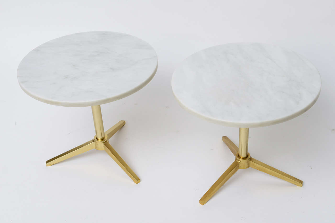 1960s Stellar Italian Marble Top Brass Base Side Tables 5