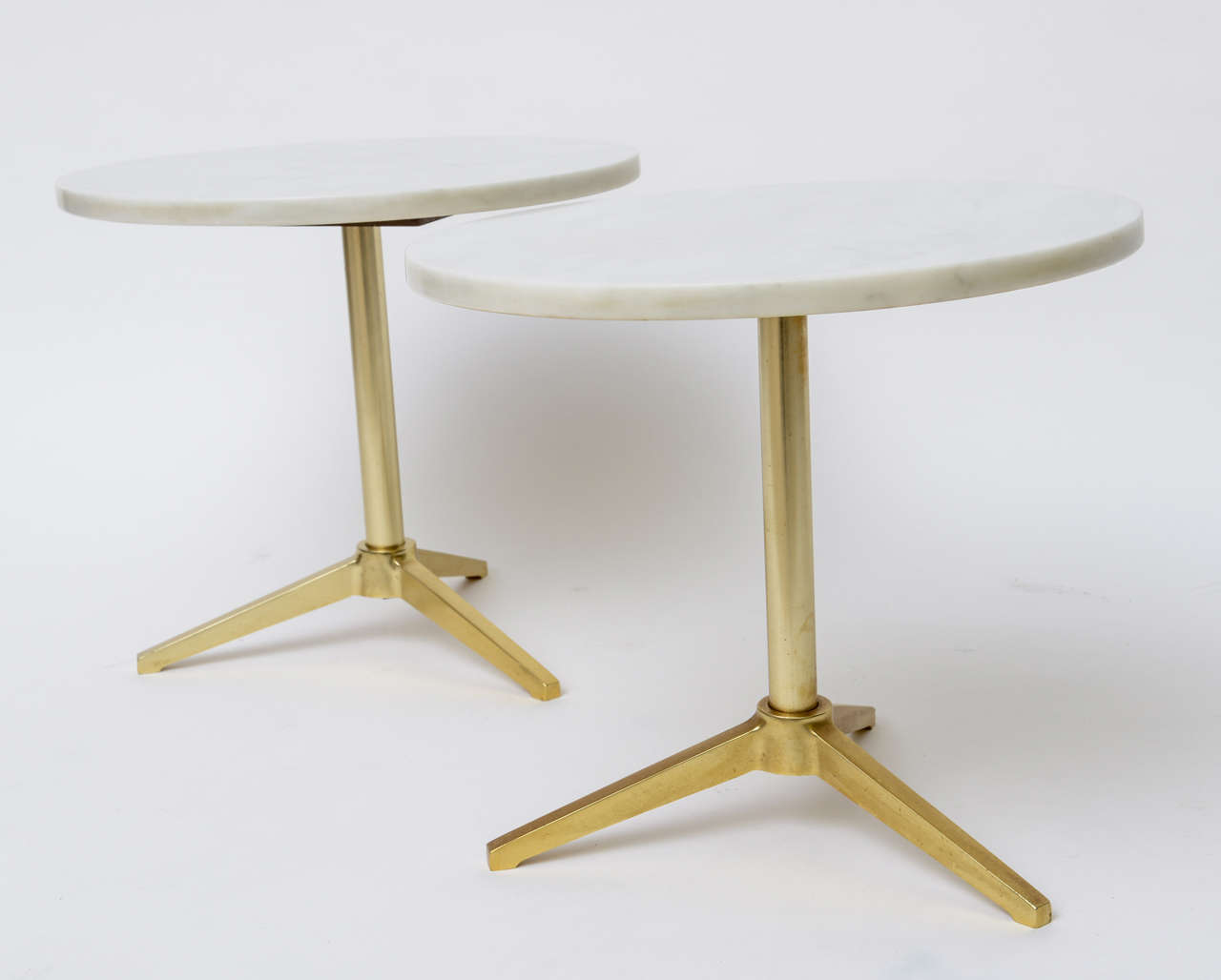 1960s Stellar Italian Marble Top Brass Base Side Tables 6