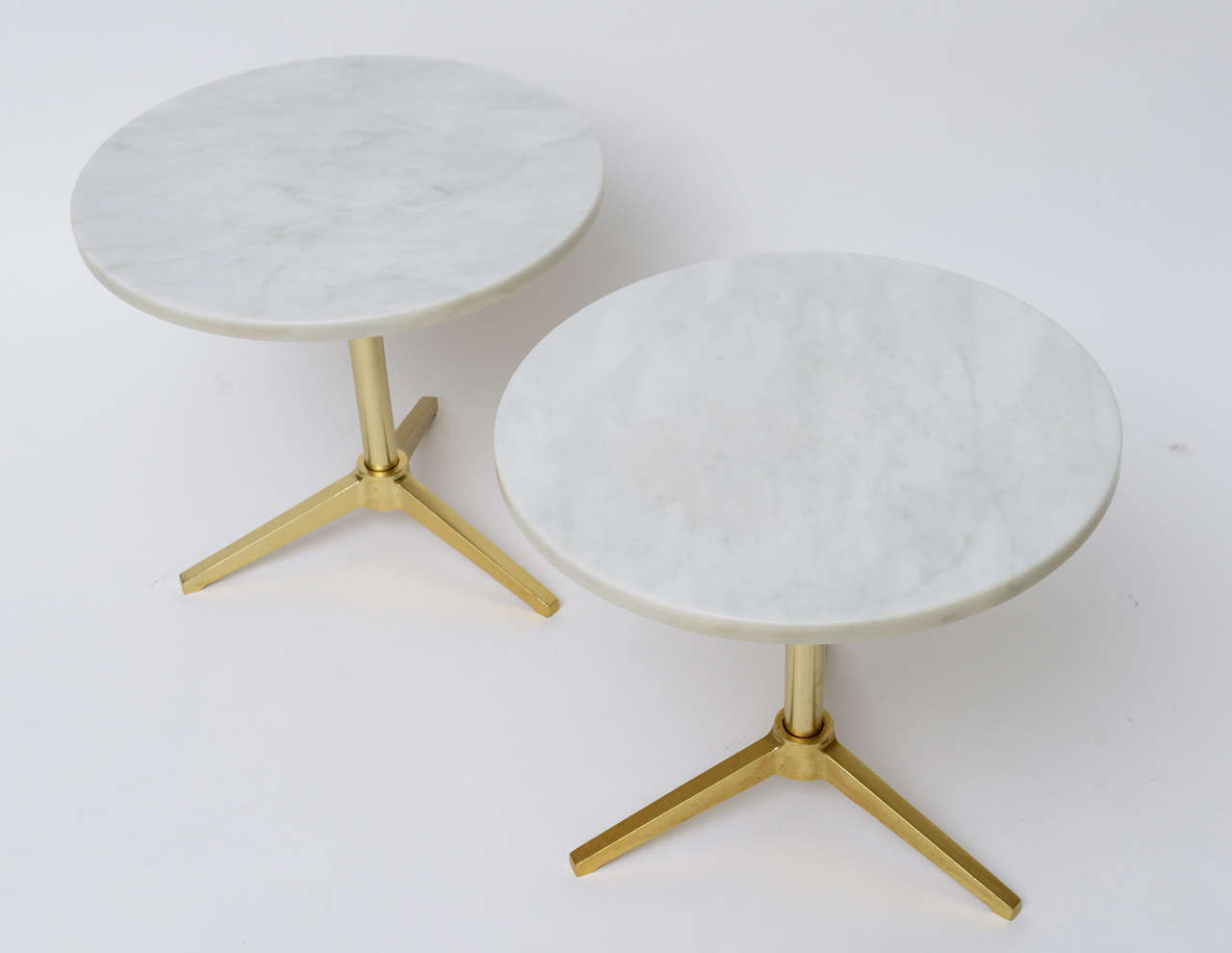1960s Stellar Italian Marble Top Brass Base Side Tables 8
